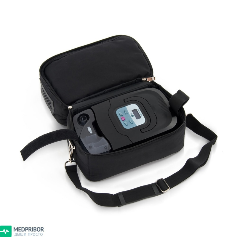 Сипап прибор уложен в сумку-переноску - компактно и удобно