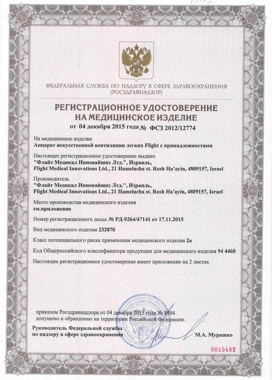 Регистрационные документы на модели Flight 60 в России